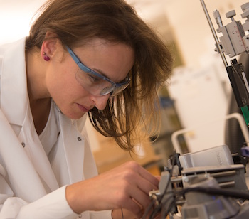 Rice University research scientist Flavia Vitale is developing nanotube fiber applications. She is part of a collaboration with Texas Heart Institute to use the fibers as conductive bridges for damaged heart tissue.