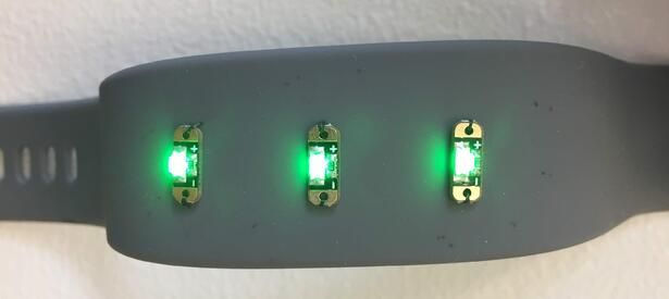 LEDs in Watch with Galvorn CNT yarn