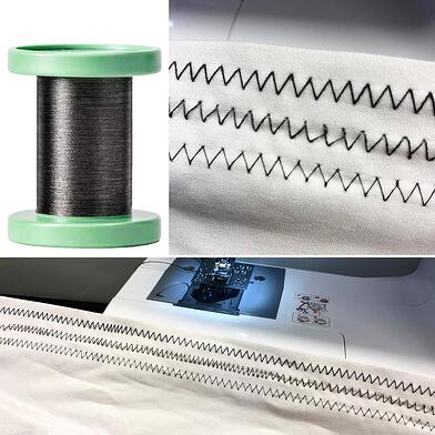 A composite image showing a spool of CNT yarn and images of cotton thread (top) steel yarn (middle) and CNT yarn (bottom) sewn into fabric with a commercial sewing machine.