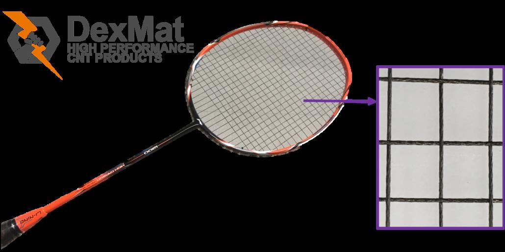 Badminton Racket Strung with CNT Yarn